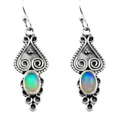 2.92cts natural multi color ethiopian opal 925 silver dangle earrings p80829