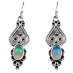2.92cts natural multi color ethiopian opal 925 silver dangle earrings p80831