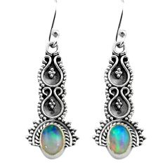 2.86cts natural multi color ethiopian opal 925 silver dangle earrings p80834