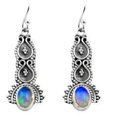 2.85cts natural multi color ethiopian opal 925 silver dangle earrings p80835