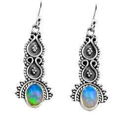 2.90cts natural multi color ethiopian opal 925 silver dangle earrings p80838