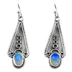 3.06cts natural multi color ethiopian opal 925 silver dangle earrings p80846
