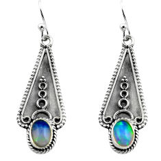 3.06cts natural multi color ethiopian opal 925 silver dangle earrings p80862