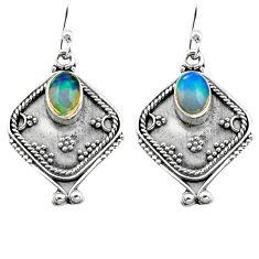 3.32cts natural multi color ethiopian opal 925 silver dangle earrings p80865