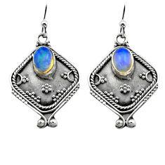 3.26cts natural multi color ethiopian opal 925 silver dangle earrings p80870