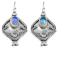 3.26cts natural multi color ethiopian opal 925 silver dangle earrings p80873