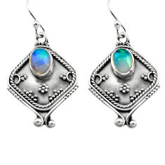 3.28cts natural multi color ethiopian opal 925 silver dangle earrings p80875