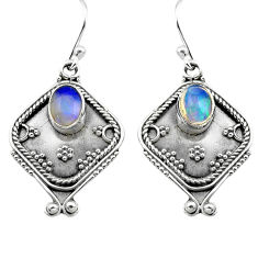 3.26cts natural multi color ethiopian opal 925 silver dangle earrings p80876