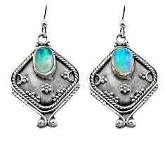 3.26cts natural multi color ethiopian opal 925 silver dangle earrings p80878