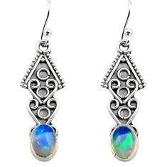 2.98cts natural multi color ethiopian opal 925 silver dangle earrings p80881