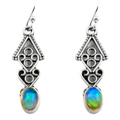 2.74cts natural multi color ethiopian opal 925 silver dangle earrings p80885