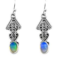 2.98cts natural multi color ethiopian opal 925 silver dangle earrings p80887