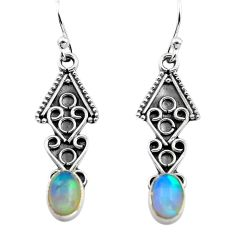2.98cts natural multi color ethiopian opal 925 silver dangle earrings p80889