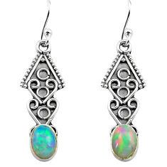 2.99cts natural multi color ethiopian opal 925 silver dangle earrings p80890