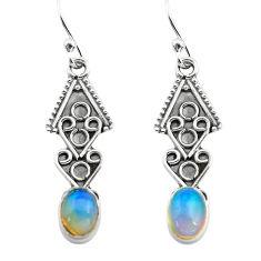 2.71cts natural multi color ethiopian opal 925 silver dangle earrings p80891