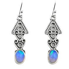 2.71cts natural multi color ethiopian opal 925 silver dangle earrings p80894