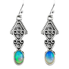 2.71cts natural multi color ethiopian opal 925 silver dangle earrings p80895