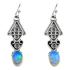 2.71cts natural multi color ethiopian opal 925 silver dangle earrings p80897