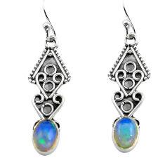 2.98cts natural multi color ethiopian opal 925 silver dangle earrings p80898
