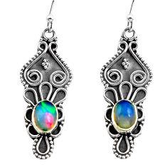 3.32cts natural multi color ethiopian opal 925 silver dangle earrings p87601