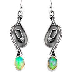 3.03cts natural multi color ethiopian opal 925 silver dangle earrings p87606