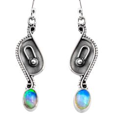 3.03cts natural multi color ethiopian opal 925 silver dangle earrings p87609