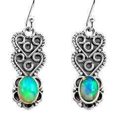 3.06cts natural multi color ethiopian opal 925 silver dangle earrings p87610