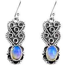 3.06cts natural multi color ethiopian opal 925 silver dangle earrings p87612