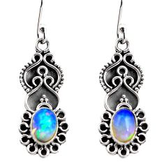 2.90cts natural multi color ethiopian opal 925 silver dangle earrings p87616