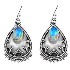 3.10cts natural multi color ethiopian opal 925 silver dangle earrings p87620
