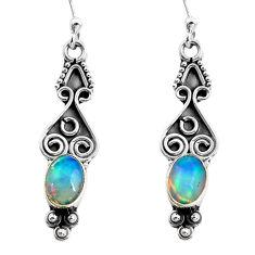 2.82cts natural multi color ethiopian opal 925 silver dangle earrings p87621