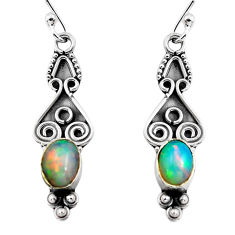 2.82cts natural multi color ethiopian opal 925 silver dangle earrings p87623