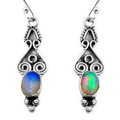 2.95cts natural multi color ethiopian opal 925 silver dangle earrings p87627
