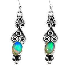 2.96cts natural multi color ethiopian opal 925 silver dangle earrings p87629