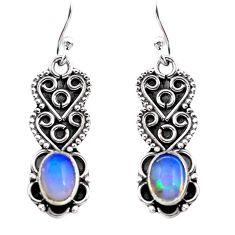 3.03cts natural multi color ethiopian opal 925 silver dangle earrings p87630