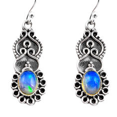 3.17cts natural multi color ethiopian opal 925 silver dangle earrings p87631