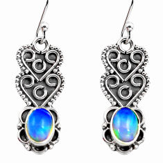 3.18cts natural multi color ethiopian opal 925 silver dangle earrings p87633