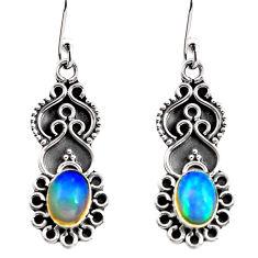 3.17cts natural multi color ethiopian opal 925 silver dangle earrings p87634