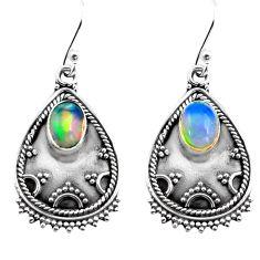 3.22cts natural multi color ethiopian opal 925 silver dangle earrings p87639
