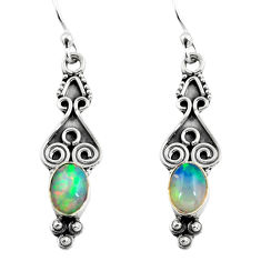 2.96cts natural multi color ethiopian opal 925 silver dangle earrings p87641