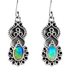 3.05cts natural multi color ethiopian opal 925 silver dangle earrings p87642