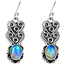 2.92cts natural multi color ethiopian opal 925 silver dangle earrings p87646