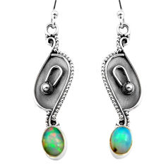 2.92cts natural multi color ethiopian opal 925 silver dangle earrings p87647
