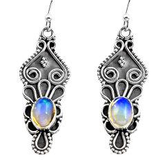 3.52cts natural multi color ethiopian opal 925 silver dangle earrings p87649