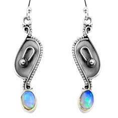 2.92cts natural multi color ethiopian opal 925 silver dangle earrings p87650