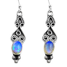 2.82cts natural multi color ethiopian opal 925 silver dangle earrings p87651