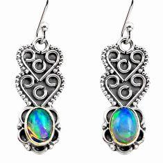 3.03cts natural multi color ethiopian opal 925 silver dangle earrings p87657