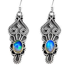 3.64cts natural multi color ethiopian opal 925 silver dangle earrings p87658