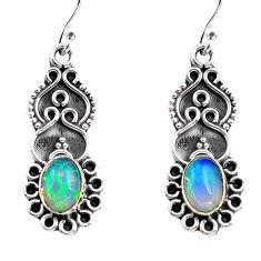 3.03cts natural multi color ethiopian opal 925 silver dangle earrings p87659
