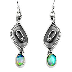 3.03cts natural multi color ethiopian opal 925 silver dangle earrings p87661